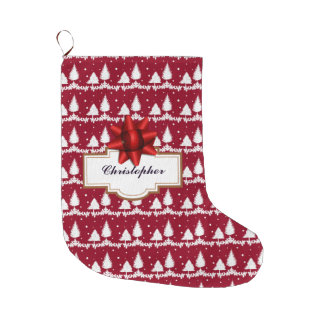 Red Pine Trees Holly and Snow Large Christmas Stocking