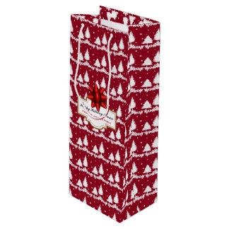 Red Pine Trees Holly and Snow Wine Gift Bag