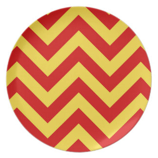 Red Pineapple Large Chevron ZigZag Pattern Dinner Plates