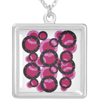 Red, pink and black circles necklace