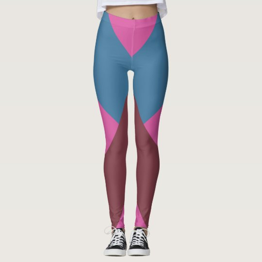 Red, pink and Blue Chevrons Leggings