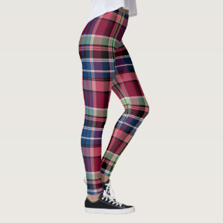 Red, pink, and blue plaid leggings