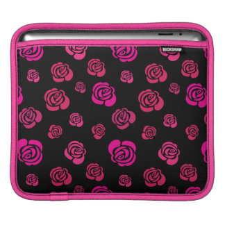 Red Pink and Magenta Roses in a Flowery Pattern iPad Sleeve