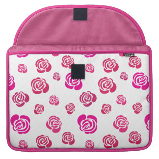 Red Pink and Magenta Roses in a Flowery Pattern Sleeve For MacBook Pro