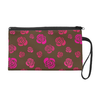 Red Pink and Magenta Roses on Sable Brown Wristlet