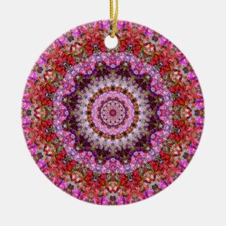 Red, Pink, and Purple Floral Mandala Art Round Ceramic Ornament