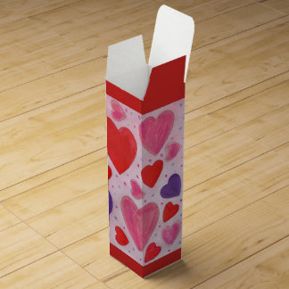 Red Pink and Purple Valentine's Day Hearts Design Wine Box