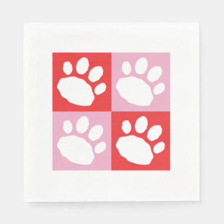 Red, Pink, and White Animal Print Silhouette Disposable Napkin