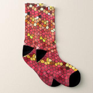 Red Pink Brown Yellow Mosaic Tile Pattern Socks 1