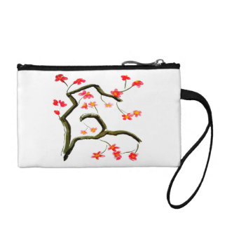 Red Pink Cherry Blossom accent Coin Purse