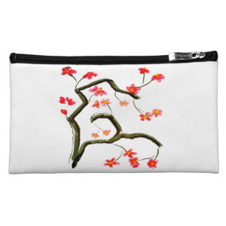 Red Pink Cherry Blossom accent Cosmetic Bag
