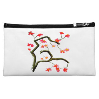 Red Pink Cherry Blossom accent Makeup Bag
