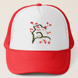Red Pink Cherry Blossom Floral accent Trucker Hat