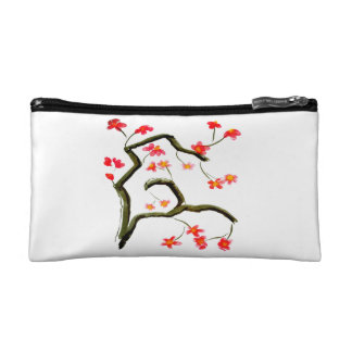 Red Pink Cherry Floral Blossom accent Makeup Bag
