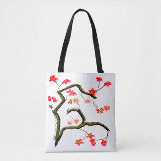Red Pink Cherry Flower Blossoms accent Tote Bag