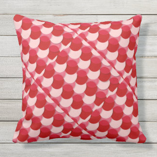 Red Pink Circle Scales Outdoor Indoor Throw Pillow