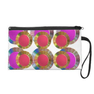 RED Pink DOTS Circles Round Disc Disk Golden Wristlets