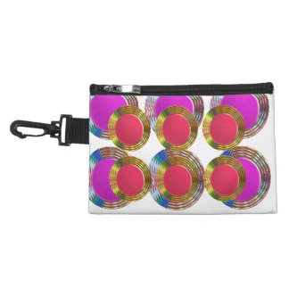 RED Pink DOTS Circles Round Disc Disk Golden Accessory Bag