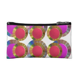 RED Pink DOTS Circles Round Disc Disk Golden Makeup Bag