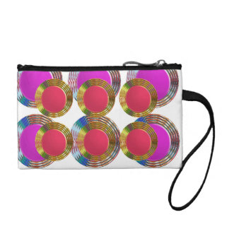 RED Pink DOTS Circles Round Disc Disk Golden Coin Wallet