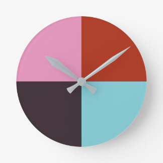 Red Pink Eggplant Blue Round Clock