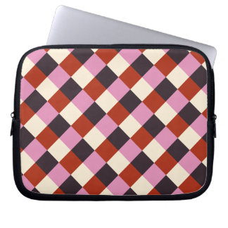Red Pink Eggplant Ivory Retro Plaid Laptop Sleeve