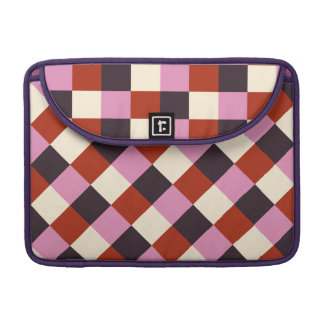 Red Pink Eggplant Ivory Retro Plaid Sleeve For MacBook Pro