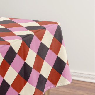 Red Pink Eggplant Ivory Retro Plaid Tablecloth