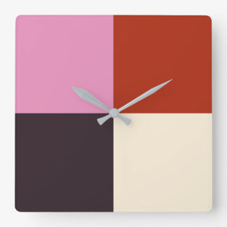 Red Pink Eggplant Ivory Square Wall Clock