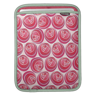Red & Pink Floral Art Nouveau Roses Pattern Sleeve iPad Sleeves
