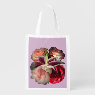 Red Pink Floral Bouquet Reusable Grocery Bag