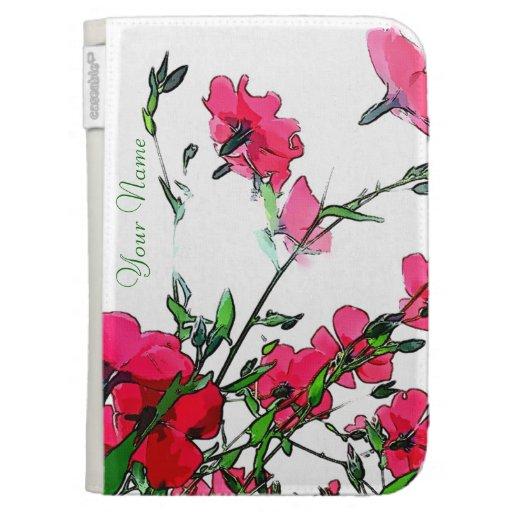 Red Pink Floral Kindle Case