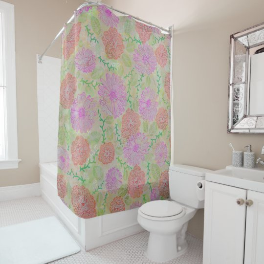 Red Pink Floral Pencil Shower Curtain