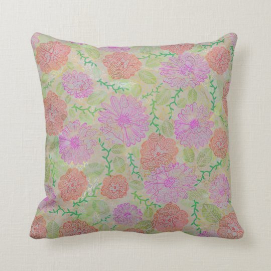Red Pink Floral Pencil Throw Pillow