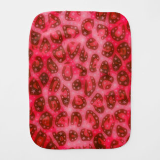 Red Pink Glowing Cheetah Burp Cloths