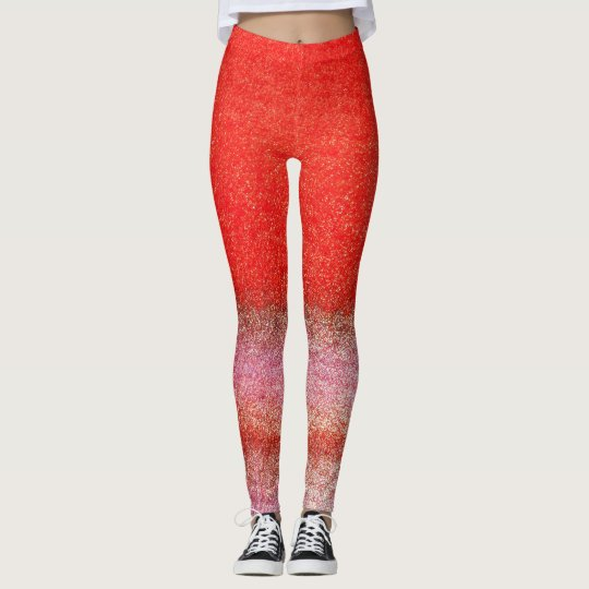 Red Pink Golden Leggings