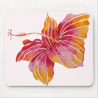 Red & Pink Hawaiian Hibiscus Flower Mousepad