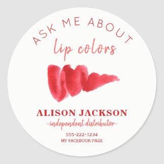 Red pink lipstick color swatch ask me promotional classic round sticker