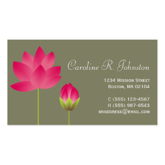 Red pink lotus flower modern tea green personal business card templates