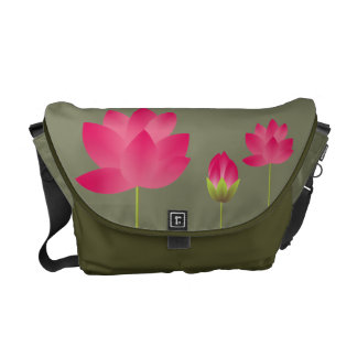 Red pink lotus flowers blossoms modern moss green courier bag