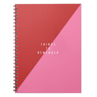 Red & pink notebook with customizable text