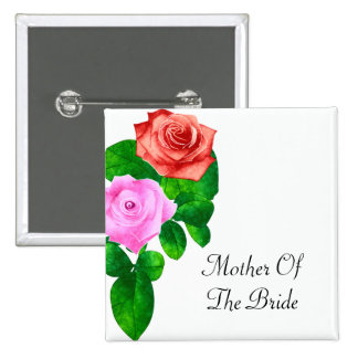 Red & Pink Old Fashioned Roses Wedding 2 Inch Square Button