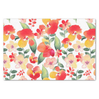 Red & Pink Painted Floral Tissue Paper