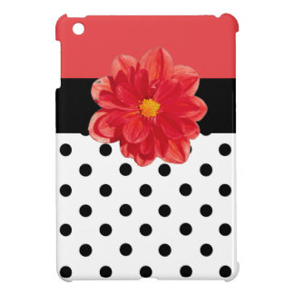 Red pink polka dot flower ipad mini case