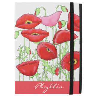 "Red Pink Poppies Art Custom Name Monogram iPad Pro 12.9"" Case"