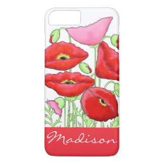 Red Pink Poppies Art Custom Name Personalized iPhone 8 Plus/7 Plus Case
