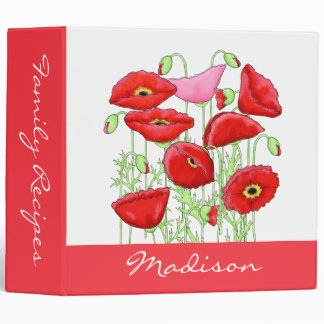 Red Pink Poppies Art Name Personalized Album 3 Ring Binder