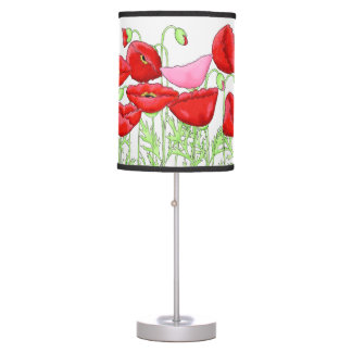 Red Pink Poppy Flower Blooms Art Custom Table Lamp
