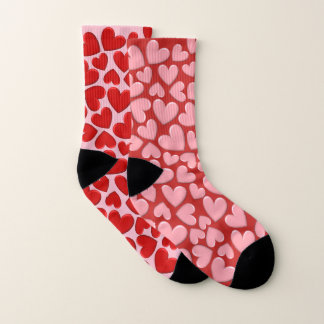 Red & Pink Puffy Hearts Mix Match Socks 1