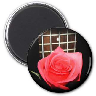 Red pink rose against five string bass fret board 2 inch round magnet